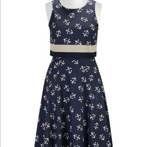 ESHAKTI Anchor midi circle skirt & crop top XL